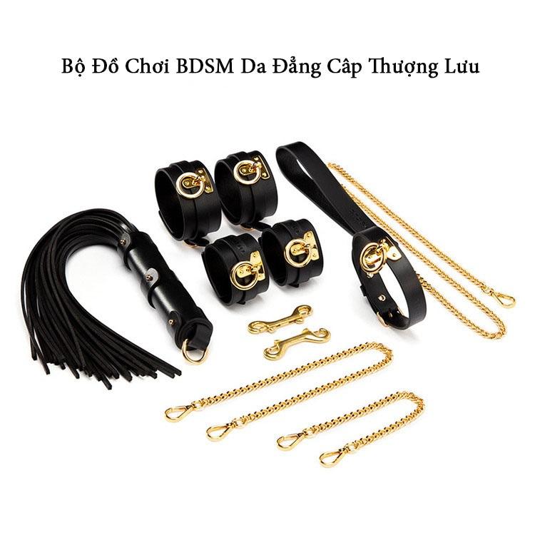 Bộ Đồ Bạo Dâm BDSM QT15 100% Da Thật Mạ Vàng 24K - Đẳng Cấp Đồ Chơi Quý Tộc